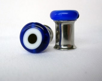 Pair of Blue Glass Evil Eye Bead Plugs - Girly Gauges - 8g, 6g, 4g, 2g, 0g, 00g, post earrings (3mm, 4mm, 5mm, 6mm, 8mm, 10mm)