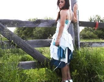 upcycled fashion, slow fashion, green wedding, wearable art, tattered wedding dress . XS -S