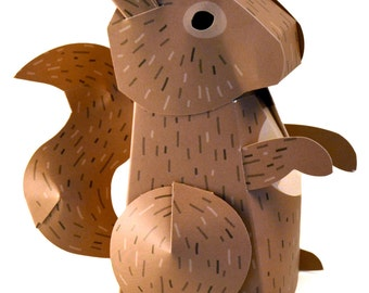 Paper Squirrel Box DIY Papercrafting Kit
