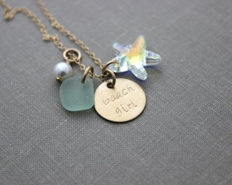 Gold Beach Girl Necklace Swarovski Crystal Starfish, Seafoam Sea Glass, Hand Stamped, White Swarovski Crystal Pearl, 14k Gold Filled
