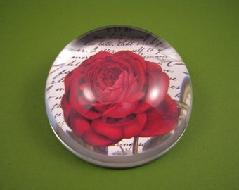 Red Rose Paperweight, Red Rose Dome, Large Glass Dome, Bourbon Red Rose, June Birthday, Floral Paperweight, Script Paperweight, Floral Decor