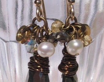 fatdog Toolbox Collection Earrings - TBE213 Pyrite with Citrine, Pearls and Crystals