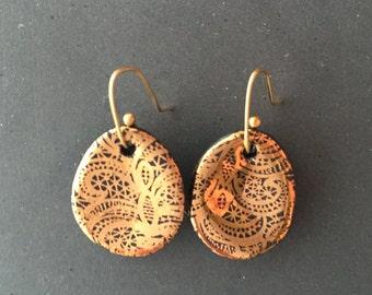 Porcelain Earrings with 14kt gold design