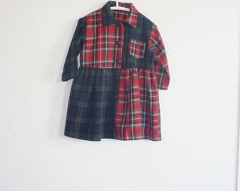 SALE // Vintage Red Plaid Dress