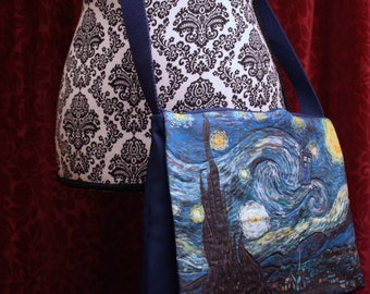 TARDIS Starry Night purse, Doctor Who, Vincent Van Gogh cross body nerd bag with pockets, Adjustable strap, geek girl gift