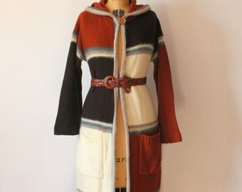 1970s Sweater // Long Hooded Sweater
