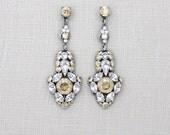 Crystal Bridal earrings, Swarovski Wedding earrings, Bridal jewelry, Golden shadow earrings, Chandelier earrings, Champagne crystal earrings