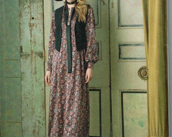 Long Maxi Dress Misses Vest Sewing Pattern Simplicity 8165 Size 4, 6, 8, 10, 12 Bust 29.5 30.5 32.5 34 Pintuck Bodice  Boho chic