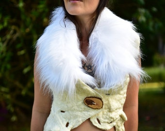 Felt Melted Goddess Of The Snow Animals Woodland Primitive Tribal Vest With Faux Fur Collar OOAK