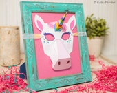 Printable Unicorn Paper Mask Rainbow Unicorn for Halloween or Unicorn Birthday Party DIY print at home cute mask craft for kids or adults