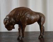 Buffalo, Leather Buffalo, Home Decor, Hand Crafted, Collectible, Bison, Carved Leather,