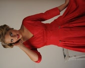 Vintage 1950's Red Swing Dress for Christmas, New Years Evev Valentines Day  Special Occasions, Rockabilly, Pin Up Dress Size Extra Small