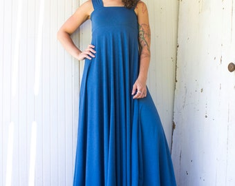 Sunset Tank Dress - Maxi Length - Full Length - Organic Fabric - Made to Order - Choose Your Color