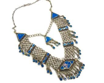 Boho Necklace, Chainmail, Blue Stone, Vintage Necklace, Boho Statement, Festival, Afghan Gypsy, Bohemian, Kuchi Ethnic Tribal, Big Large