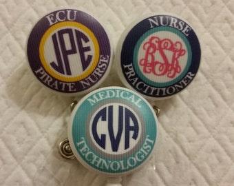 Medical Staff / Nursing Student -- Monogrammed Badge Reel ID Holder Badge Pull