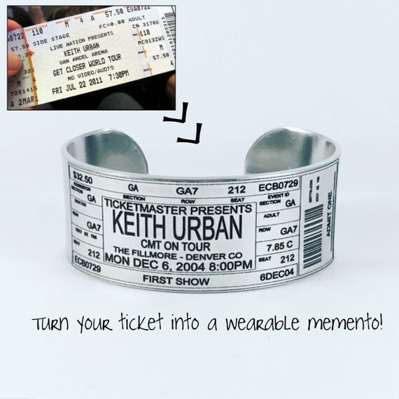 Concert Ticket Bracelet, Personalized Concert Ticket Bracelet, Concert Bracelet, Ticket Bracelet, Concert Arm Band, Music, Memorbilia