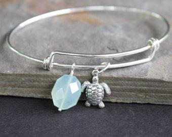 Turtle Charm Bangle - Adjustable Sterling Silver Bangle - Beach Jewelry