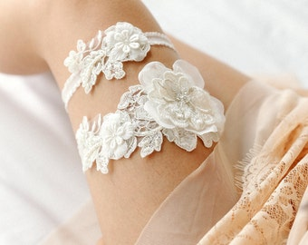 Ivory pearl beaded wedding garter set, bridal lace garter set, keepsake, tossing - style 408 set
