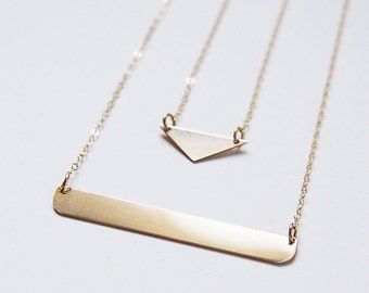 SALE Gold Bar Layer Necklace