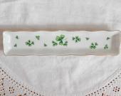 Lefton shamrock trinket dish, vintage, ring dish, Irish decor, white green, collectible, home decor