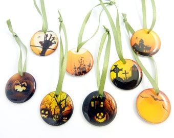 """8 Halloween Ornaments.  1"""" or 25 mm Round Halloween Ornaments or Tag.  Handmade By Me.  Each Image is Different."""
