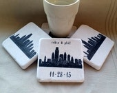 Personalized Philadelphia Skyline Coasters - Wedding Day Gift for the Couple - Set of 4