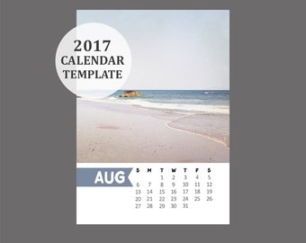 5x7 Size 2017 Calendar Template, 12 month whimsical calendar, Downloadable file for photographers, Print Your Own Calendar, Desk Calendar