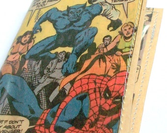 Gift under 10 dollars Guy Gift under Ten Dollars UPCYCLED Spiderman Vintage Comic book page RECYCLED into business card case mini wallet