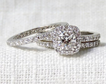 Vintage Diamond Engagement Ring in 18k White Gold; Wedding Band Set; Diamond Halo Ring and Eternity Ring;