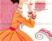 Vintage Birthday Cake Girl Candles Glitter Digital Download vintage invitation cake diy birthday invite card 1950s party image glamorous