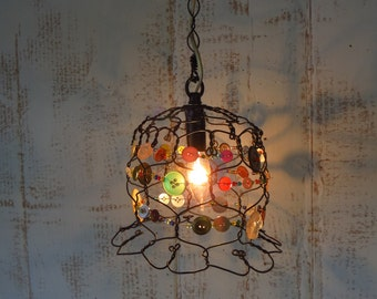 Hanging Lamp With Buttons and Beads Pendant Style