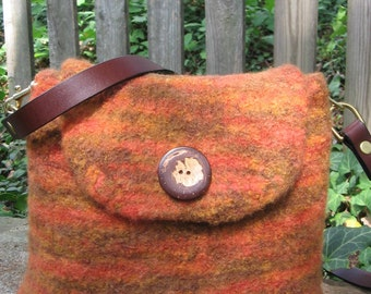 Fall Messenger Rust Colored Wool Felted Hand Knitted Purse Custom Lined