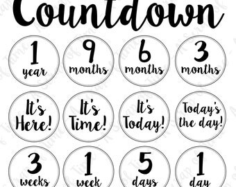 Countdown Digital Clipart - Set of 52 - Calligraphy Handwriting Script - Planner Clipart - Instant Download - Item#9154