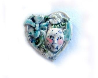 Heart Focal Bead, focal bead, handmade bead,clay bead. jewelry supplies,  #15