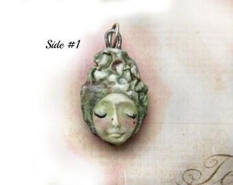 ceramic pendant, 2 sided pendant , pendant necklace, face pendant, face bead - rose pendant,    # 85