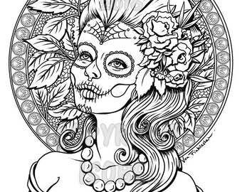 Digital Download - Print your own colouring book outline page -Autumn- Day of the dead - Tattoo flash - Sugar Skull girl
