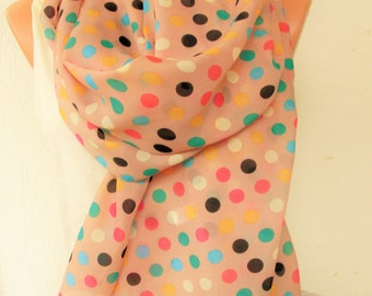 Polka Dot Scarf ,Women Scarf  Pastel Summer Scarf  Gift for her  Boho Scarf  Fabric Scarf   Women fashion Accessories, Gift for Women