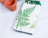 Fern Botanical iPhone 7 Wallet Case, 6S Plus Folio Woodland, Nature Lover Gift