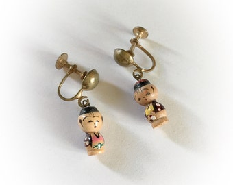 Vintage Asian Wooden Doll Dangle Earrings Screw Backs