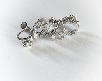 Vintage Sterling Silver and Rhinestone Earrings Screw Backs