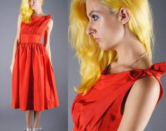 Red Bombshell Dress 50s Bow Tie Sleeve Swingy Circle Skirt Bridal Prom Dress Size X Small Bust 32 33 34