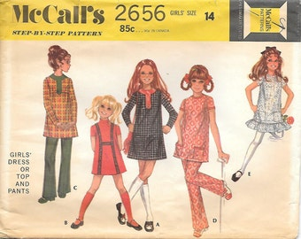 McCalls 2656 1970s Tweens Mod Dress Top and Pants Vintage Sewing Pattern Size 14 Bust 32