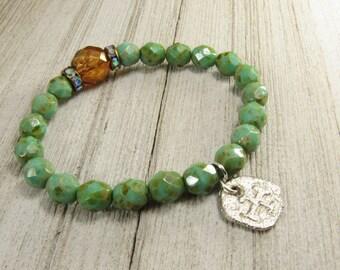 Czech Glass Turquoise Beaded Stretch Bracelet with Amber Focal - Stacking Bracelet - BOHO - Gypsy - Hippie