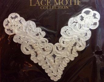 Lace Motif - Soutache Applique - White 7 X 9 Inches