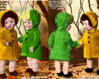 "Vintage 1950's Scalloped Edge Bonnet & Coat Knitting Pattern for 7 1/2"" Dolls"