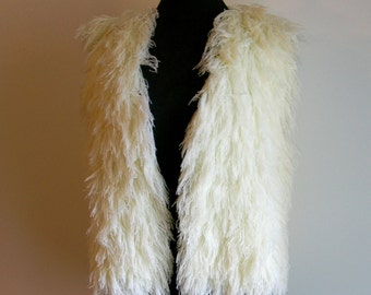 Vintage Boho Hippie Shaggy Vanilla Vest by SIDEFFECTS