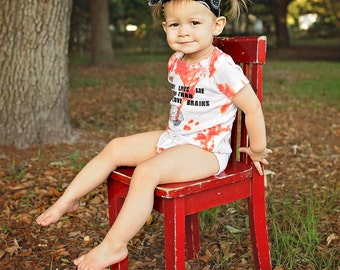 Custom Hand Dyed 'Mommy Loves Me More Than Zombies Love Brains' Zombie Onesie - Halloween - The Walking Dead - Birthday Baby Gift
