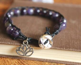 Amethyst Single Wrap Bracelet with Lotus Charm// boho jewelry - bohemian - healing crystal - festival jewelry - spiritual - calming