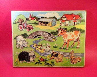 Vintage Jigsaw Puzzle - Victory Puzzles - GJ Hayter & Co - Country Scene - Farm Animal Puzzle - 1970s