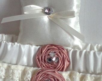 """Crystal and Ivory Ring Bearer Pillow, small simple bridal pillow, crystal button ivory ribbon -- approx. 3"""" square"""